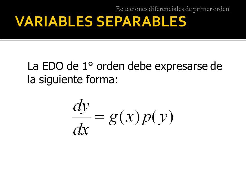 Ecuaciones diferenciales de primer orden La EDO de 1° orden debe expresarse de la siguiente forma: