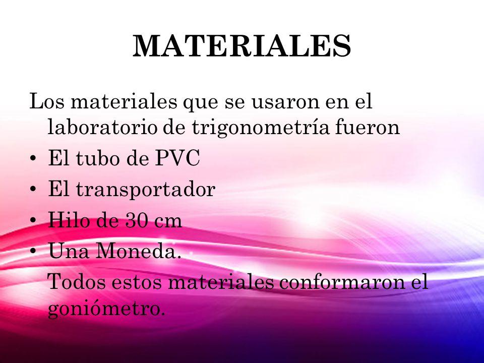 MATERIALES Los materiales que se usaron en el laboratorio de trigonometría fueron El tubo de PVC El transportador Hilo de 30 cm Una Moneda.