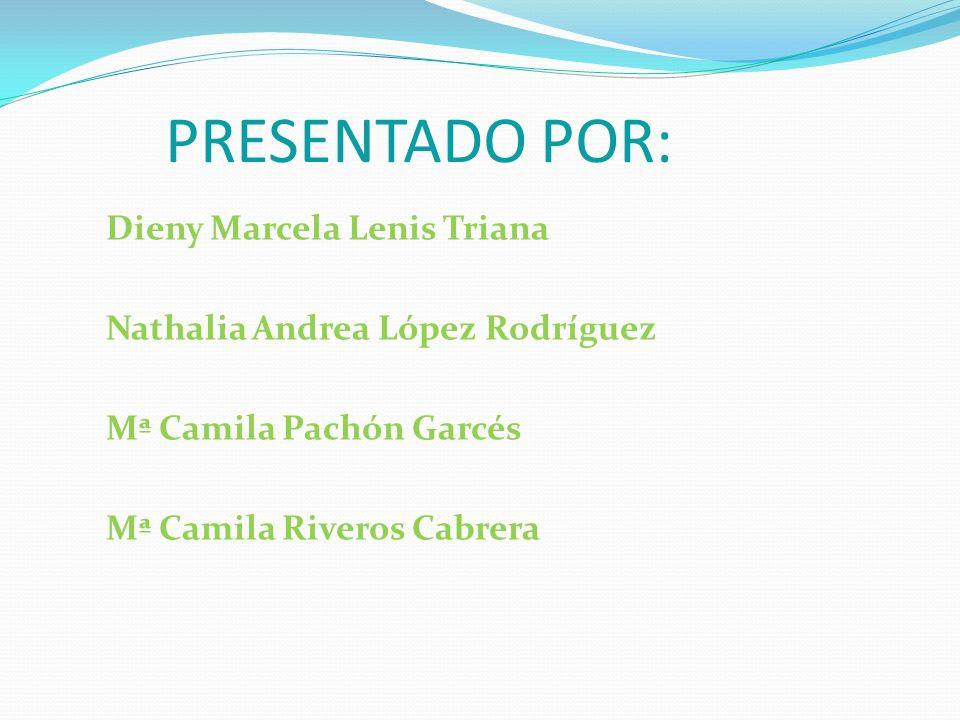 PRESENTADO POR: Dieny Marcela Lenis Triana Nathalia Andrea López Rodríguez Mª Camila Pachón Garcés Mª Camila Riveros Cabrera
