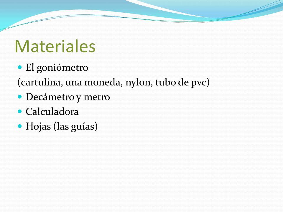Materiales El goniómetro (cartulina, una moneda, nylon, tubo de pvc) Decámetro y metro Calculadora Hojas (las guías)