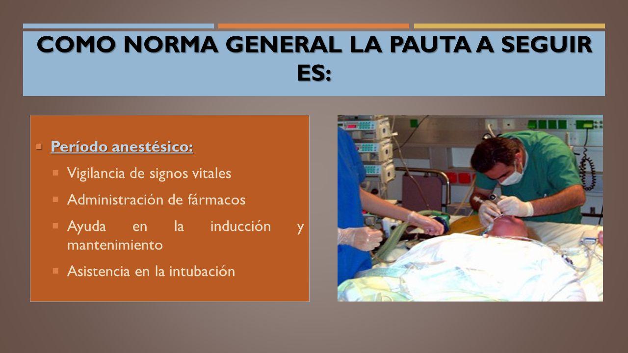  Período anestésico:  Vigilancia de signos vitales  Administración de fármacos  Ayuda en la inducción y mantenimiento  Asistencia en la intubación COMO NORMA GENERAL LA PAUTA A SEGUIR ES: