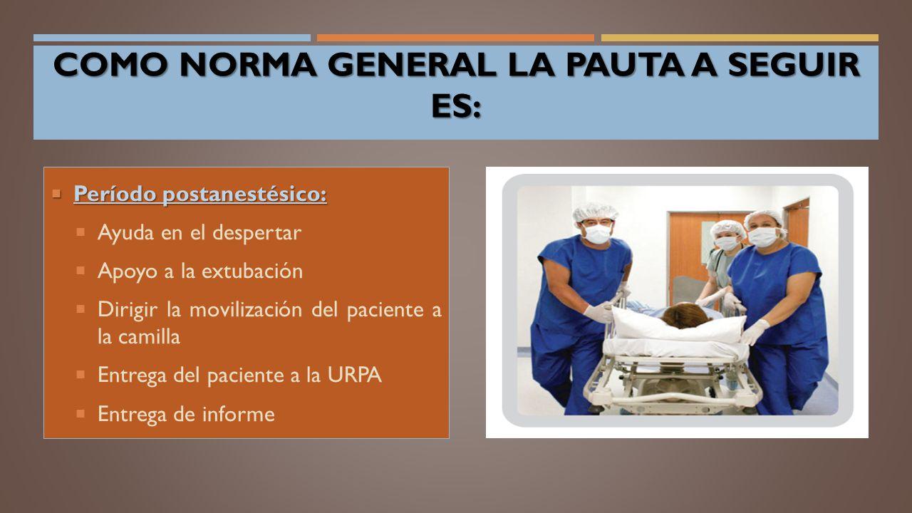  Período postanestésico:  Ayuda en el despertar  Apoyo a la extubación  Dirigir la movilización del paciente a la camilla  Entrega del paciente a la URPA  Entrega de informe