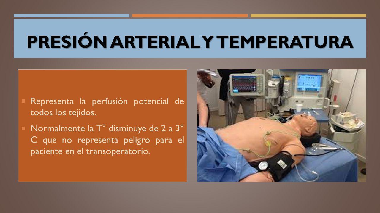 PRESIÓN ARTERIAL Y TEMPERATURA  Representa la perfusión potencial de todos los tejidos.