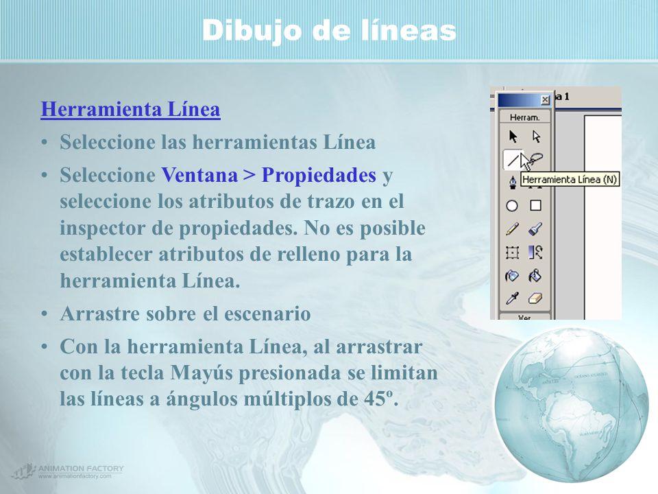 Dibujo de líneas Herramienta Línea Seleccione las herramientas Línea Seleccione Ventana > Propiedades y seleccione los atributos de trazo en el inspector de propiedades.
