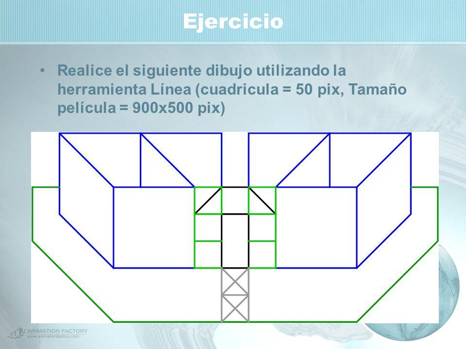 Ejercicio Realice el siguiente dibujo utilizando la herramienta Línea (cuadricula = 50 pix, Tamaño película = 900x500 pix)