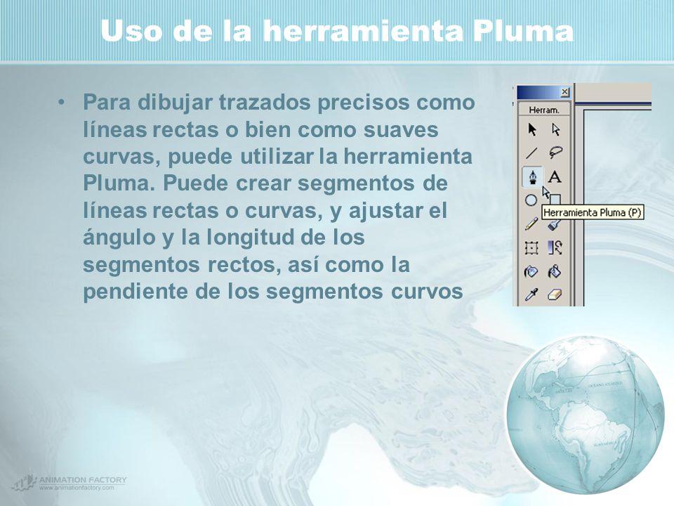 Uso de la herramienta Pluma Para dibujar trazados precisos como líneas rectas o bien como suaves curvas, puede utilizar la herramienta Pluma.