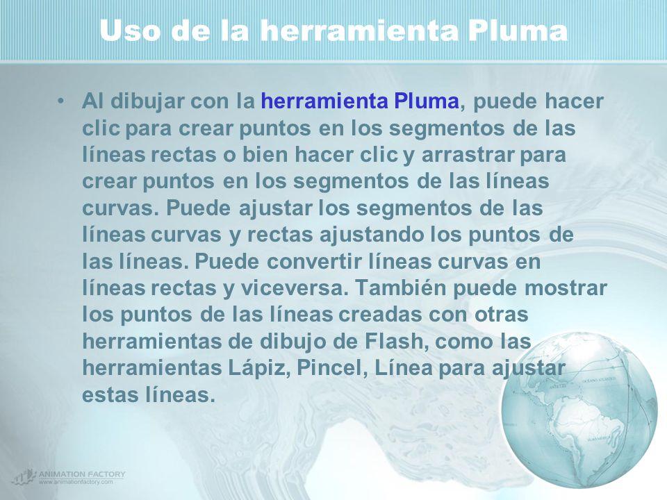 Uso de la herramienta Pluma Al dibujar con la herramienta Pluma, puede hacer clic para crear puntos en los segmentos de las líneas rectas o bien hacer clic y arrastrar para crear puntos en los segmentos de las líneas curvas.