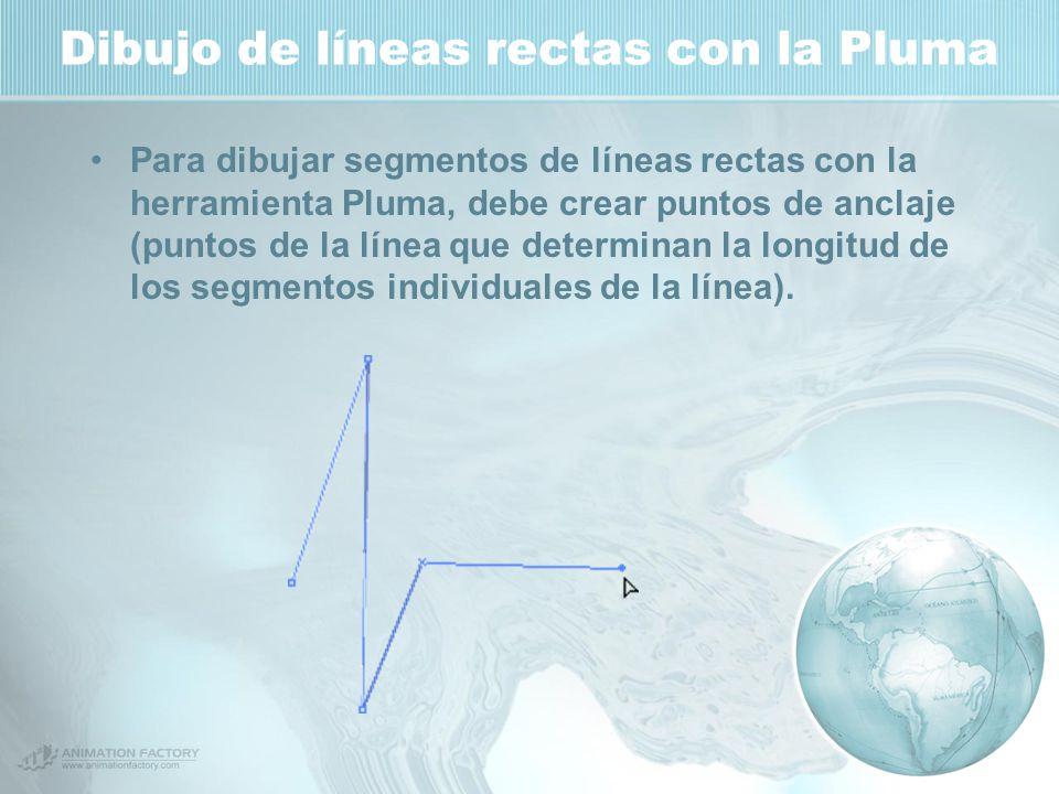 Dibujo de líneas rectas con la Pluma Para dibujar segmentos de líneas rectas con la herramienta Pluma, debe crear puntos de anclaje (puntos de la línea que determinan la longitud de los segmentos individuales de la línea).
