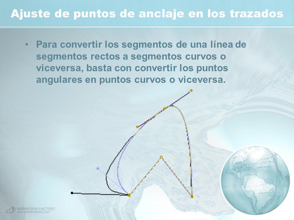 Ajuste de puntos de anclaje en los trazados Para convertir los segmentos de una línea de segmentos rectos a segmentos curvos o viceversa, basta con convertir los puntos angulares en puntos curvos o viceversa.