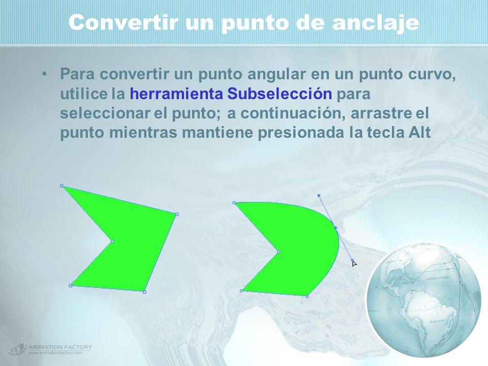 Convertir un punto de anclaje Para convertir un punto angular en un punto curvo, utilice la herramienta Subselección para seleccionar el punto; a continuación, arrastre el punto mientras mantiene presionada la tecla Alt