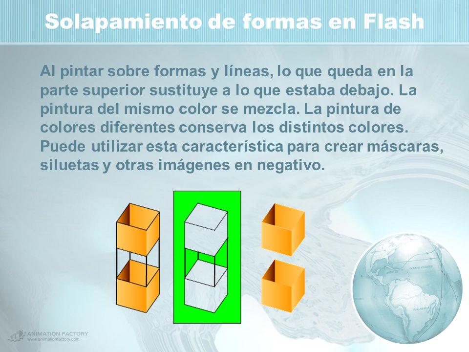 Solapamiento de formas en Flash Al pintar sobre formas y líneas, lo que queda en la parte superior sustituye a lo que estaba debajo.