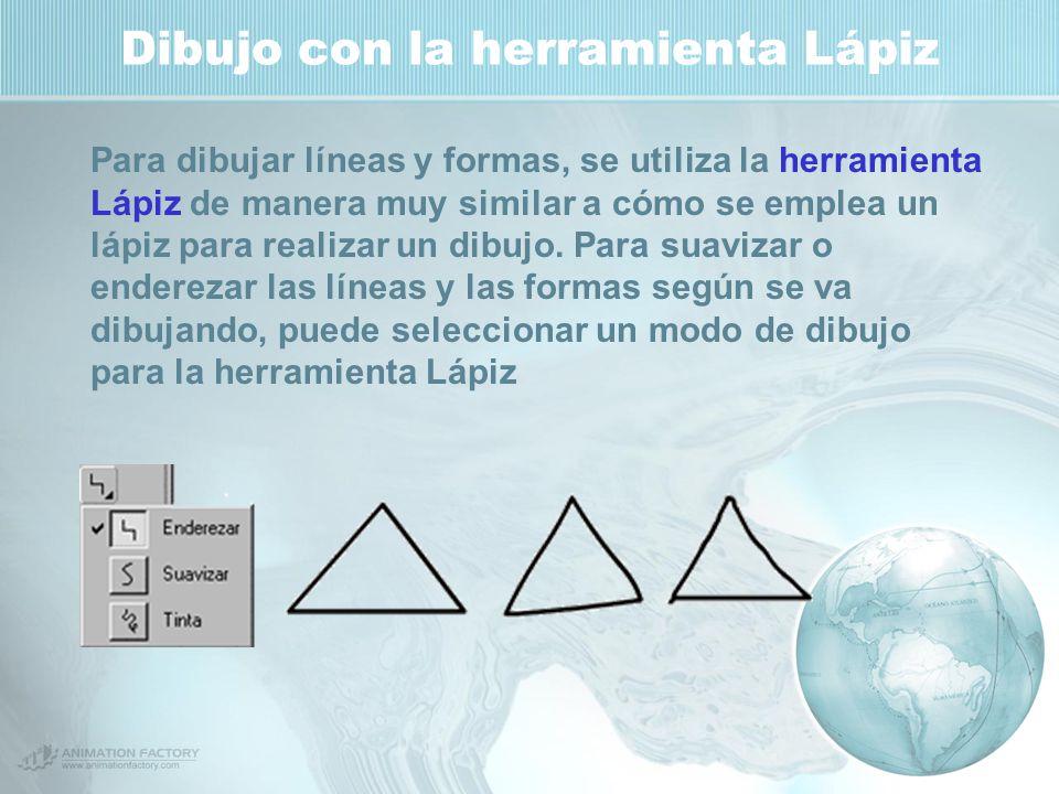 Dibujo con la herramienta Lápiz Para dibujar líneas y formas, se utiliza la herramienta Lápiz de manera muy similar a cómo se emplea un lápiz para realizar un dibujo.