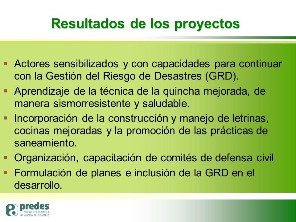 Resultados de los proyectos   Actores sensibilizados y con capacidades para continuar con la Gestión del Riesgo de Desastres (GRD).