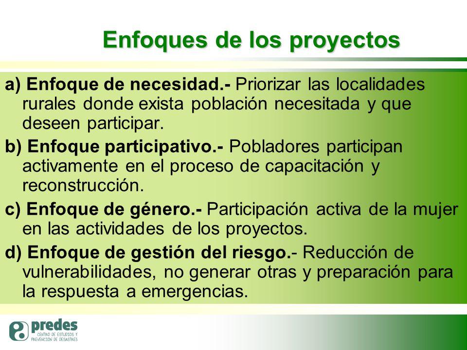 Enfoques de los proyectos a) Enfoque de necesidad.- Priorizar las localidades rurales donde exista población necesitada y que deseen participar.