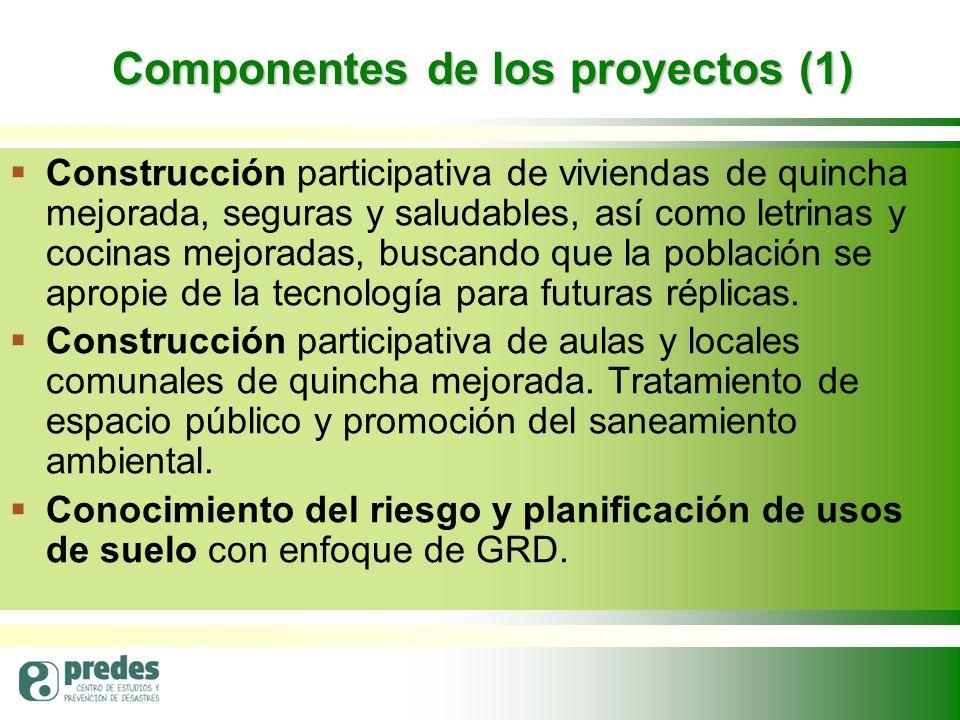 Componentes de los proyectos (1)   Construcción participativa de viviendas de quincha mejorada, seguras y saludables, así como letrinas y cocinas mejoradas, buscando que la población se apropie de la tecnología para futuras réplicas.