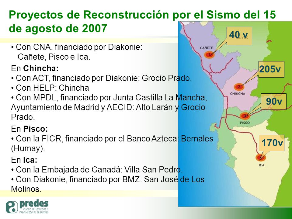 Proyectos de Reconstrucción por el Sismo del 15 de agosto de 2007 40 v 90v 205v 170v Con CNA, financiado por Diakonie: Cañete, Pisco e Ica.