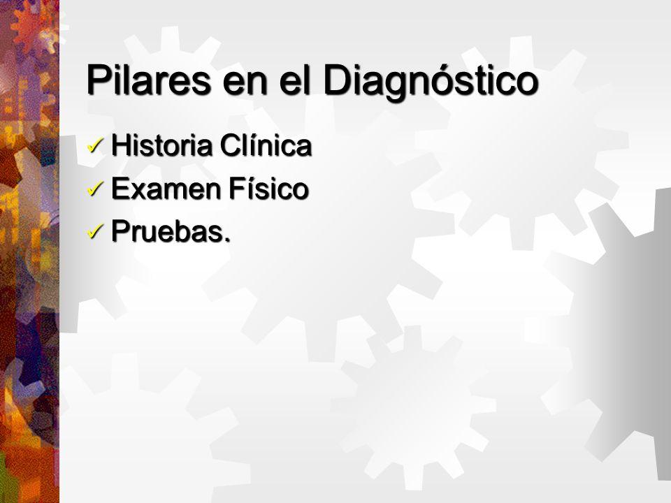 Pilares en el Diagnóstico Historia Clínica Historia Clínica Examen Físico Examen Físico Pruebas.
