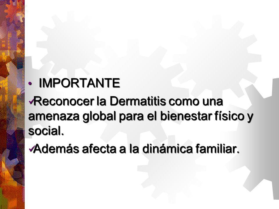 IMPORTANTE IMPORTANTE Reconocer la Dermatitis como una amenaza global para el bienestar físico y social.