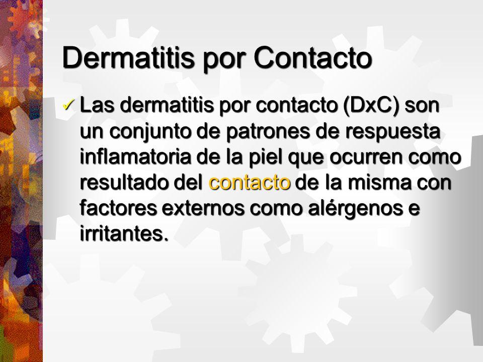 Dermatitis por Contacto Las dermatitis por contacto (DxC) son un conjunto de patrones de respuesta inflamatoria de la piel que ocurren como resultado del contacto de la misma con factores externos como alérgenos e irritantes.