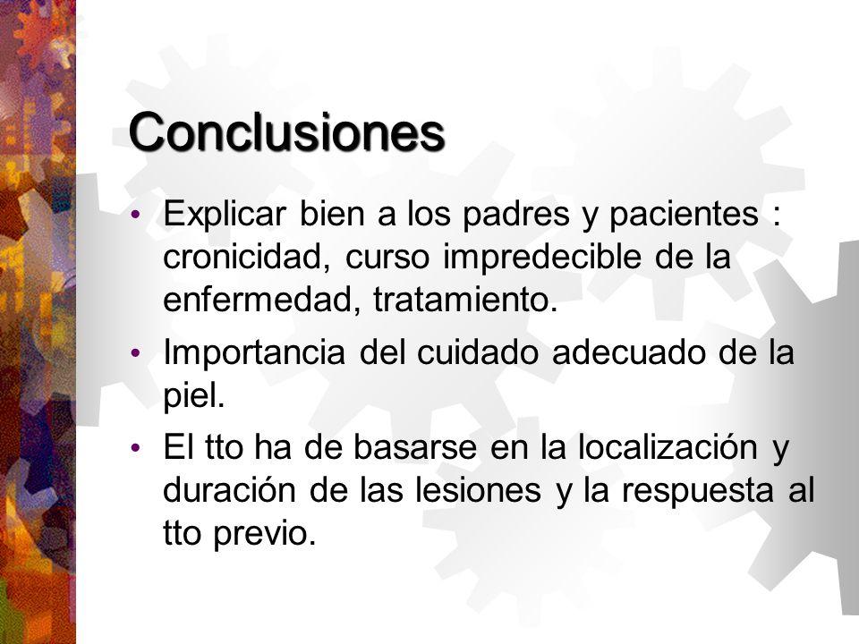 Conclusiones Explicar bien a los padres y pacientes : cronicidad, curso impredecible de la enfermedad, tratamiento.