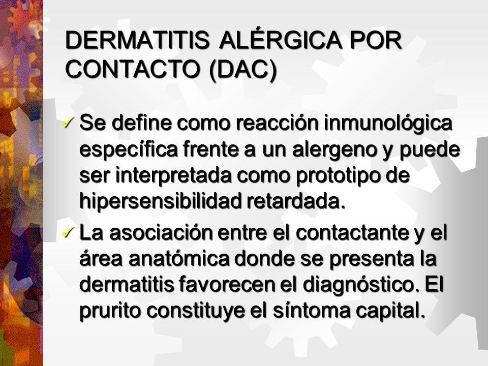 Reacciones inmediatas de contacto (RIC) Son un grupo heterogéneo de reacciones inflamatorias cutáneas de aparición muy rápida, minutos a una hora del contacto con el ofensor, y que duran unas pocas horas.