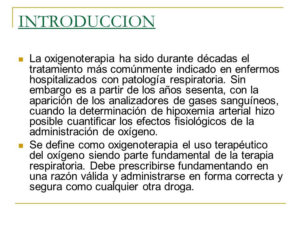 INTRODUCCION La oxigenoterapia ha sido durante décadas el tratamiento más comúnmente indicado en enfermos hospitalizados con patología respiratoria. S
