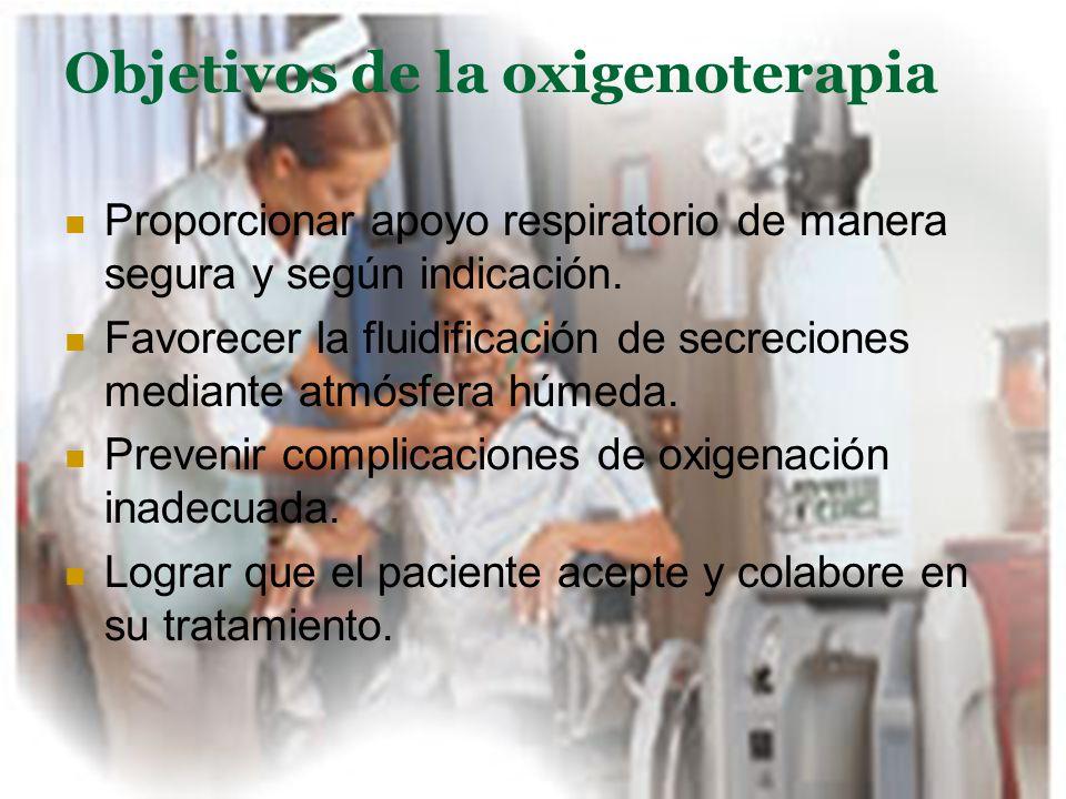 Objetivos de la oxigenoterapia Proporcionar apoyo respiratorio de manera segura y según indicación. Favorecer la fluidificación de secreciones mediant