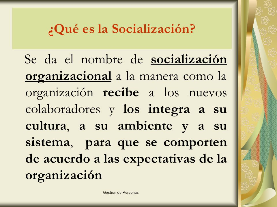 Gestión de Personas Métodos utilizados para realizar la socialización Grupo de trabajo: La integración del colaborador podría ser a través de un grupo de trabajo que pueda generarle un efecto positivo y duradero.