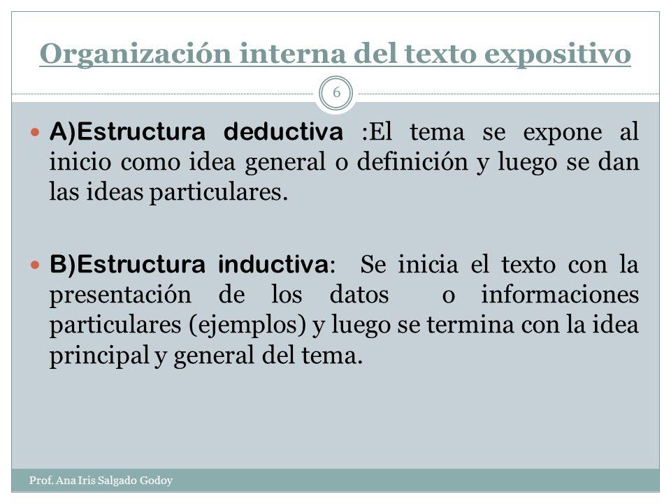 Organización interna de un texto expositivo: Prof.