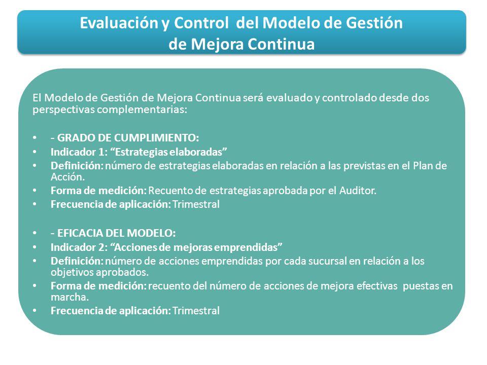 Evaluación y Control del Modelo de Gestión de Mejora Continua El Modelo de Gestión de Mejora Continua será evaluado y controlado desde dos perspectiva