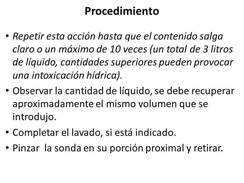 Procedimiento Repetir esta acción hasta que el contenido salga claro o un máximo de 10 veces (un total de 3 litros de líquido, cantidades superiores p