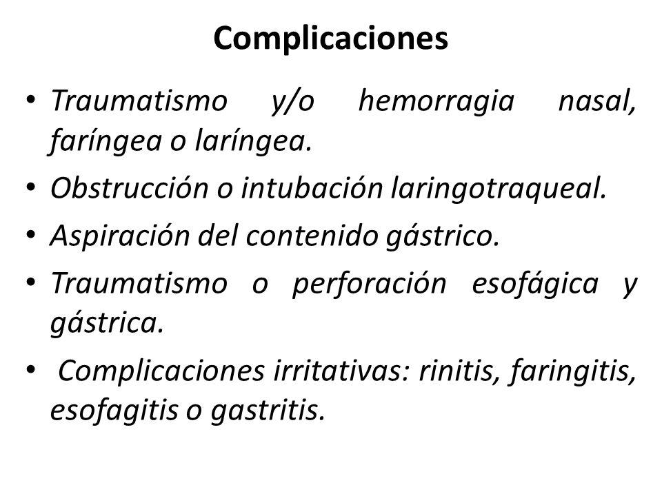 Complicaciones Traumatismo y/o hemorragia nasal, faríngea o laríngea. Obstrucción o intubación laringotraqueal. Aspiración del contenido gástrico. Tra