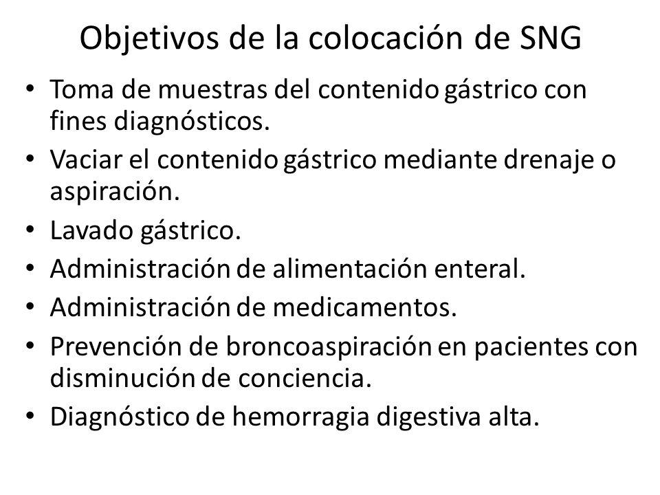 Objetivos de la colocación de SNG Toma de muestras del contenido gástrico con fines diagnósticos. Vaciar el contenido gástrico mediante drenaje o aspi