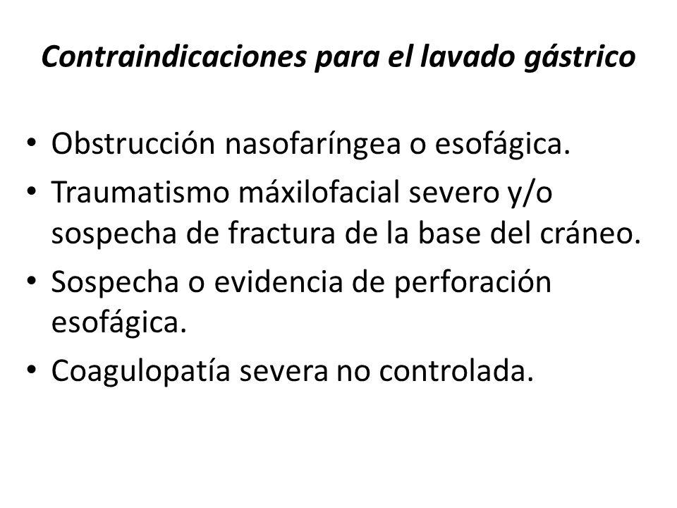 Contraindicaciones para el lavado gástrico Obstrucción nasofaríngea o esofágica. Traumatismo máxilofacial severo y/o sospecha de fractura de la base d