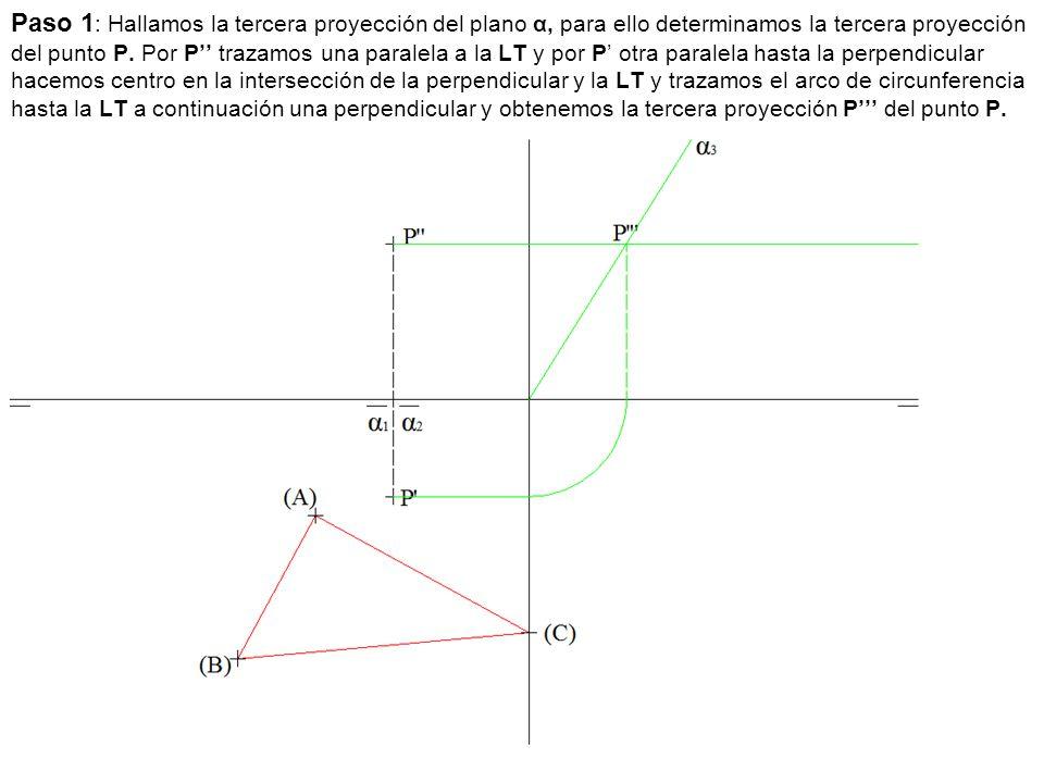 Paso 1 : Hallamos la tercera proyección del plano α, para ello determinamos la tercera proyección del punto P. Por P'' trazamos una paralela a la LT y