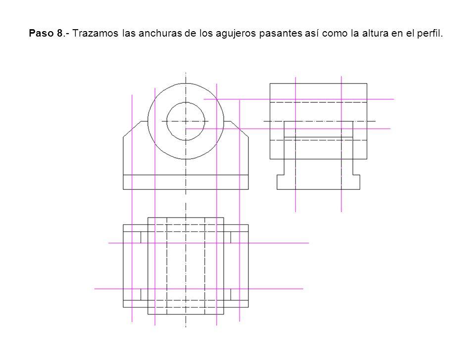 Paso 8.- Trazamos las anchuras de los agujeros pasantes así como la altura en el perfil.