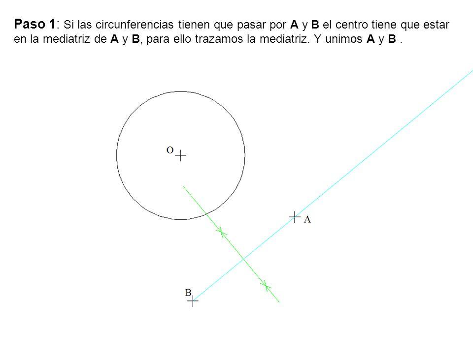 Paso 1: Si las circunferencias tienen que pasar por A y B el centro tiene que estar en la mediatriz de A y B, para ello trazamos la mediatriz. Y unimo