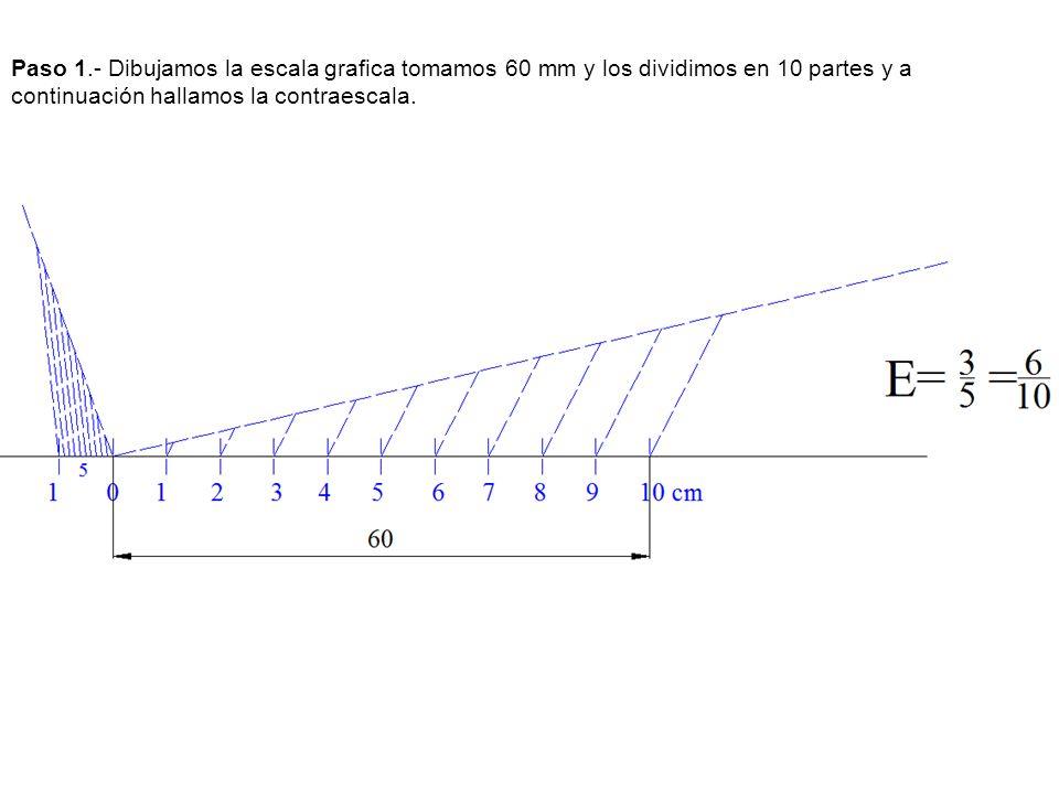 Paso 1.- Dibujamos la escala grafica tomamos 60 mm y los dividimos en 10 partes y a continuación hallamos la contraescala.