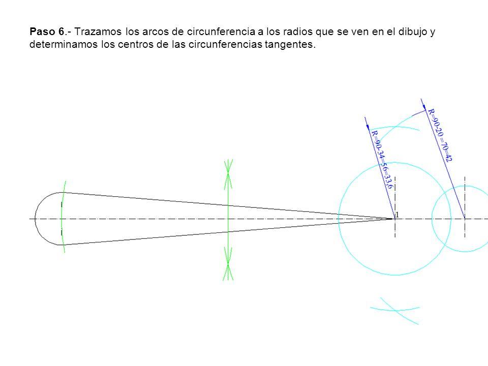 Paso 6.- Trazamos los arcos de circunferencia a los radios que se ven en el dibujo y determinamos los centros de las circunferencias tangentes.