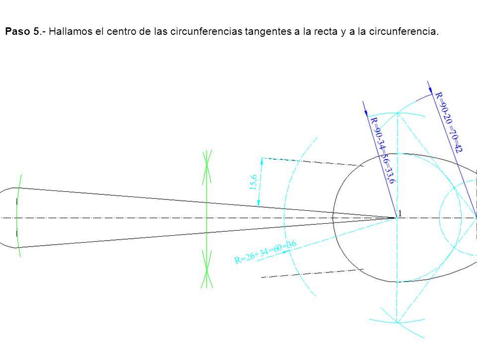 Paso 5.- Hallamos el centro de las circunferencias tangentes a la recta y a la circunferencia.