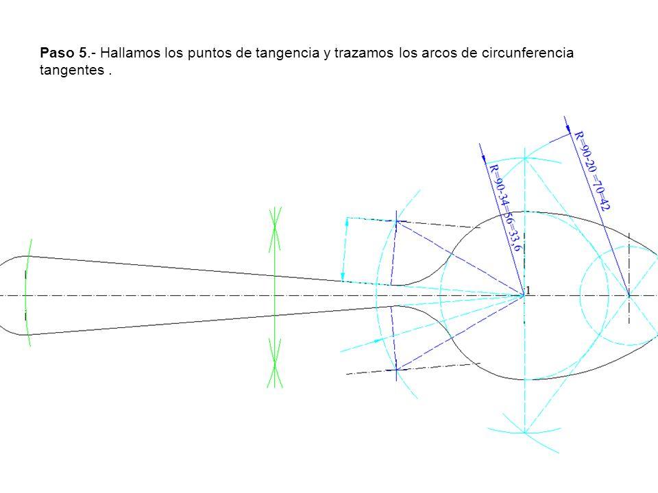 Paso 5.- Hallamos los puntos de tangencia y trazamos los arcos de circunferencia tangentes.