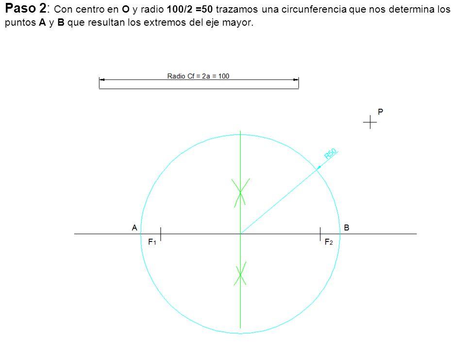 Paso 2: Con centro en O y radio 100/2 =50 trazamos una circunferencia que nos determina los puntos A y B que resultan los extremos del eje mayor.