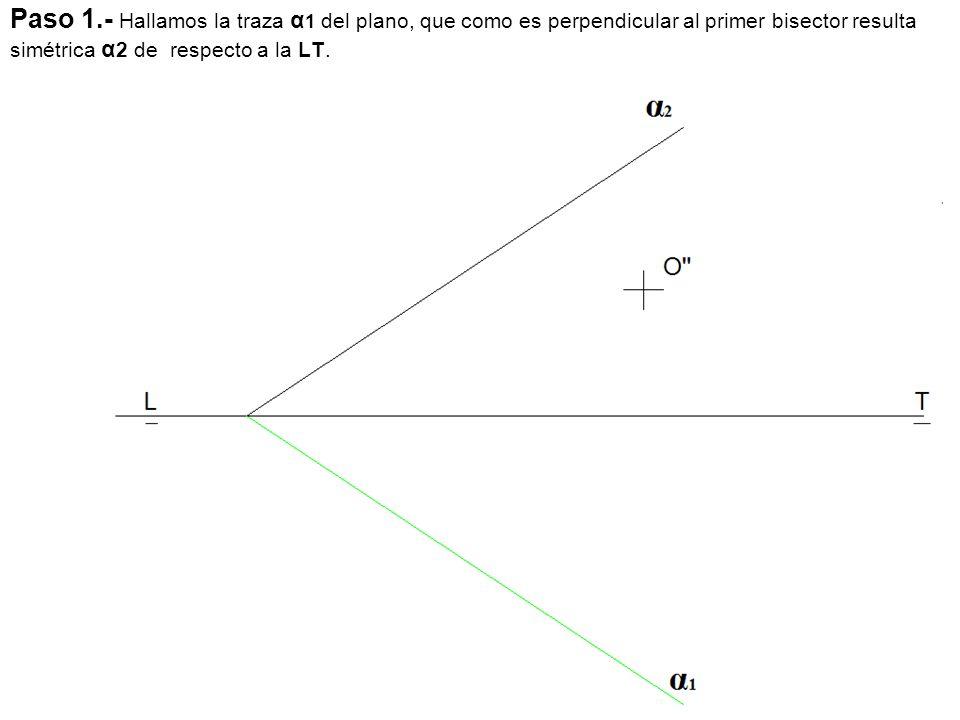 Paso 1.- Hallamos la traza α 1 del plano, que como es perpendicular al primer bisector resulta simétrica α 2 de respecto a la LT.