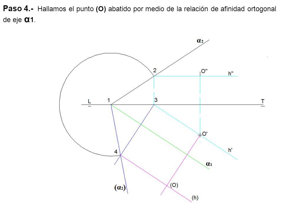 Paso 4.- Hallamos el punto (O) abatido por medio de la relación de afinidad ortogonal de eje α 1.