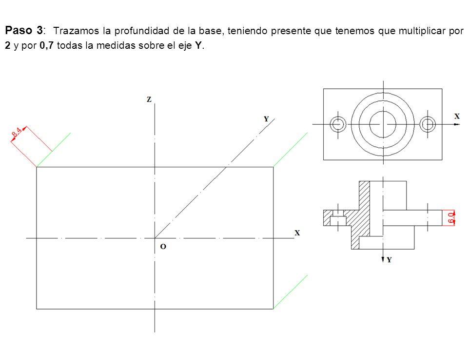 Paso 3: Trazamos la profundidad de la base, teniendo presente que tenemos que multiplicar por 2 y por 0,7 todas la medidas sobre el eje Y.
