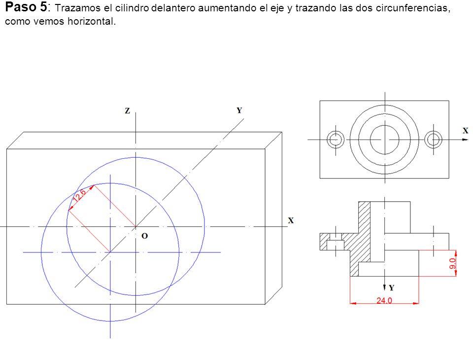 Paso 5: Trazamos el cilindro delantero aumentando el eje y trazando las dos circunferencias, como vemos horizontal.