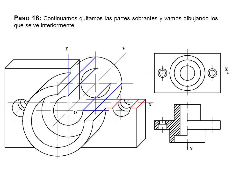 Paso 18: Continuamos quitamos las partes sobrantes y vamos dibujando los que se ve interiormente.