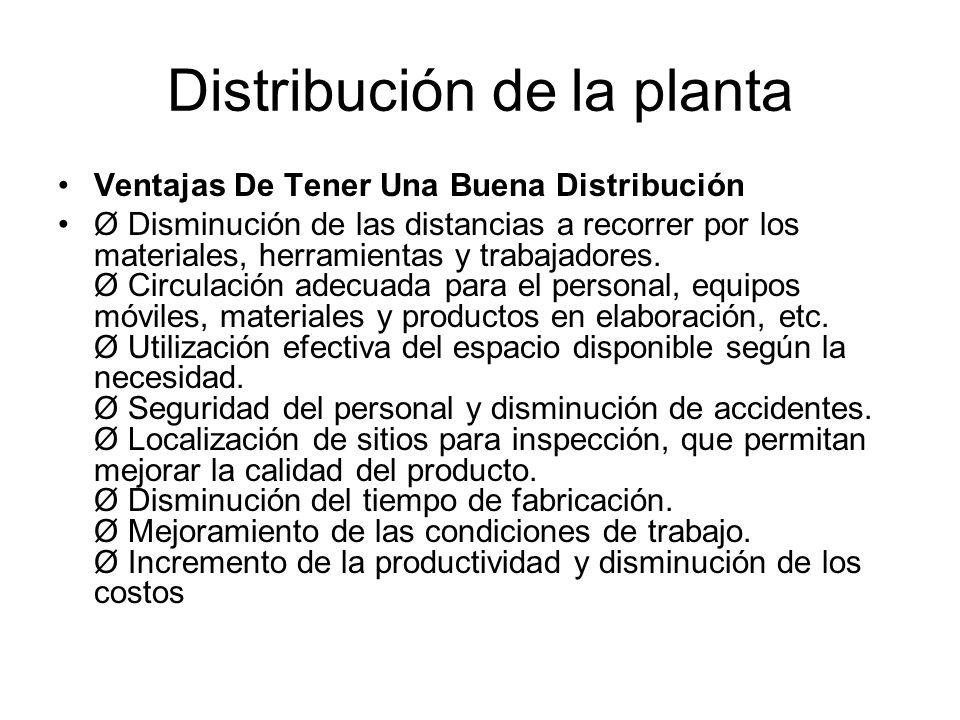 Distribución de la planta Ventajas De Tener Una Buena Distribución Ø Disminución de las distancias a recorrer por los materiales, herramientas y traba