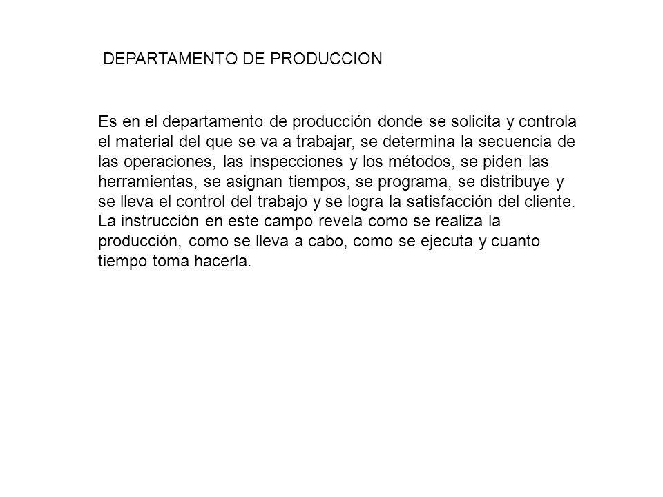 DEPARTAMENTO DE PRODUCCION Es en el departamento de producción donde se solicita y controla el material del que se va a trabajar, se determina la secu