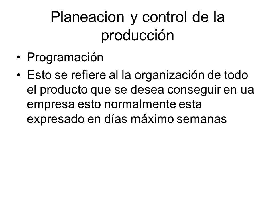 Planeacion y control de la producción Programación Esto se refiere al la organización de todo el producto que se desea conseguir en ua empresa esto no